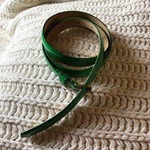 J. Crew green patent leather skinny belt Sz S.